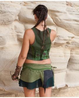 Wrap skirt - velvet, cotton, crochet (0018)