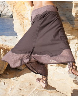Long gypsy skirt - adjustable length, cotton and lace (0070)