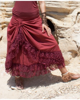 Long gypsy skirt - double layered, cotton and lace (0074)