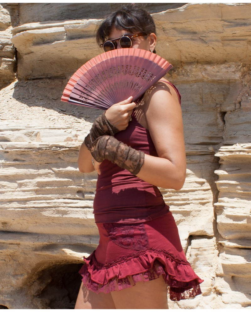 Boho short skirt - lycra and lace (0029)