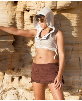 Steampunk vest - large hood, cotton and lace (0091)
