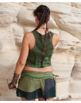 Bohemian vest - cotton, lace and embroidery (0076). Back view