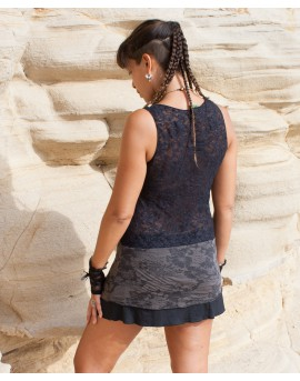 Short dress or longer top. Full lace at the back and burnout lycra pattern at the lower part.