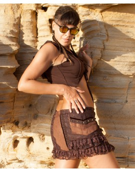 Bohemian short skirt made of soft cotton velvet. It has two handy pockets and is well decorated with charming details.