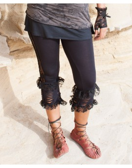 Boho, festival leggings made of lycra and lace. Lace pattern running along the side of each leg. You will definitely look funky