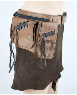 Steampunk burning man utility belt - brown leather (0013)