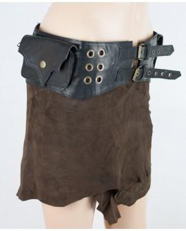 Burning Man pocket belt - leather (0019)