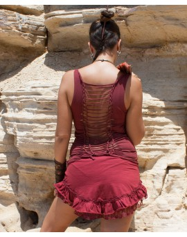 A - shaped, pixie style, lycra and lace mini skirt. Ruffled hemline, flirty feel. Amazing festival mini skirt