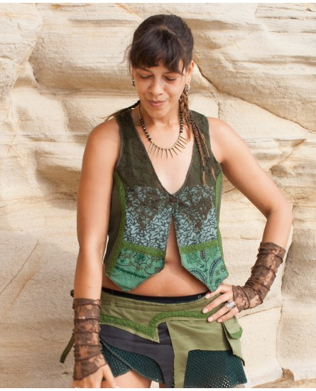 Bohemian vest - cotton, lace and embroidery (0076)