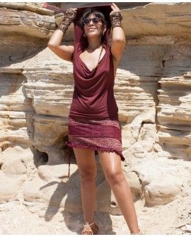 EarthyWear - Backless dress with large hood (lycra, lace)