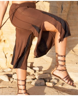 Comfy pants, dramatically flared, hippie style. Reversed seams and split on each leg. Brown pants