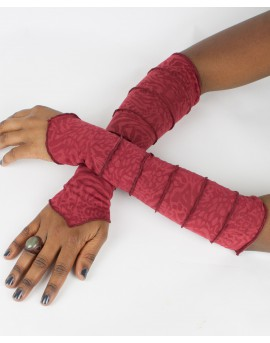 Amazing patterns. EarthyWear - fairy gloves, party sleeves. Burgundy colour