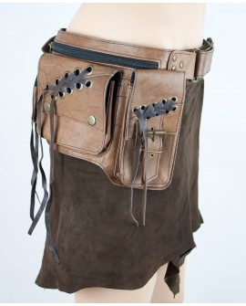 Steampunk burning man utility belt - brown leather (0013)