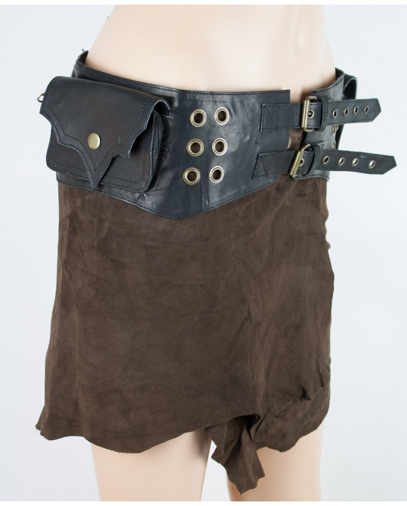 Burning Man pocket belt - leather (0019)