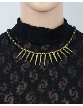 EarthyWear - Tribal style spiky brass necklace