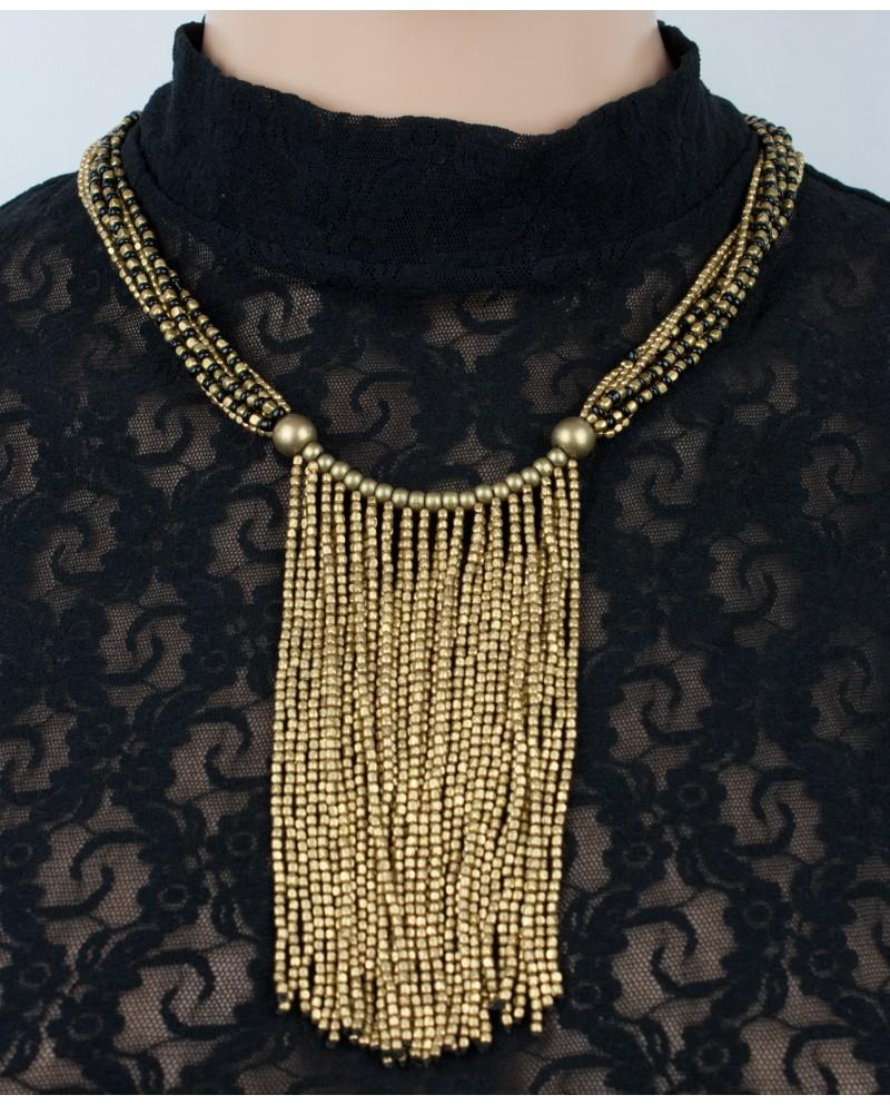 EarthyWear - Multicolour brass necklace with brass tassels