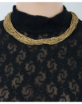 Brass multi strands beaded necklace