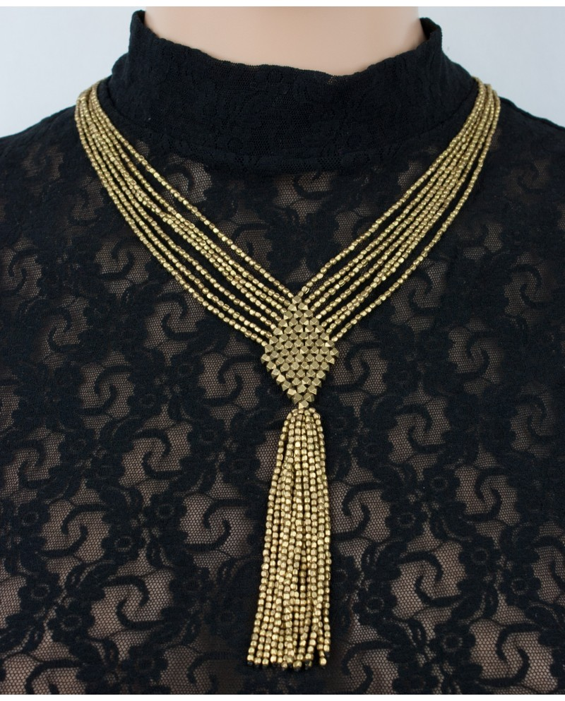 Super stylish brass braided beaded necklace