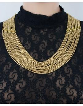 Multi strands brass beaded necklace