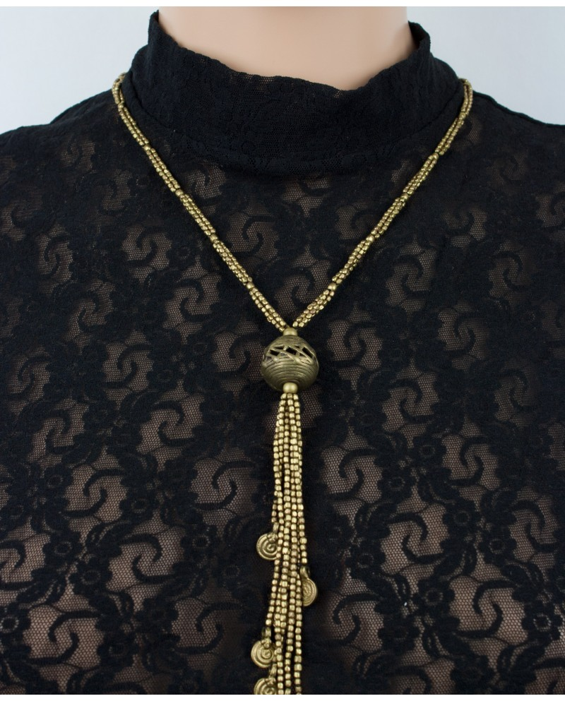 Long ethnic brass necklace with tassels