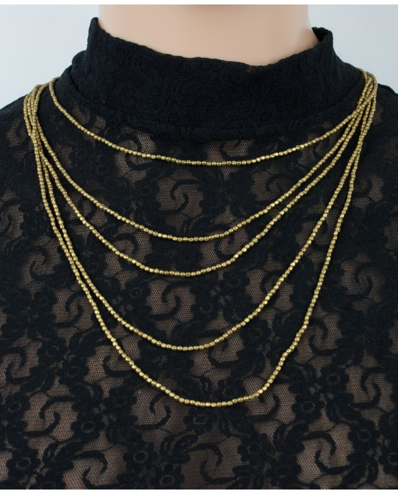 Five strands simple brass necklace