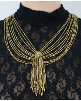Multi strands brass necklace (0004)