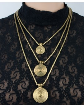 Tribal brass necklace with large brass plates