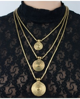 Three strands tribal brass necklace (0010)