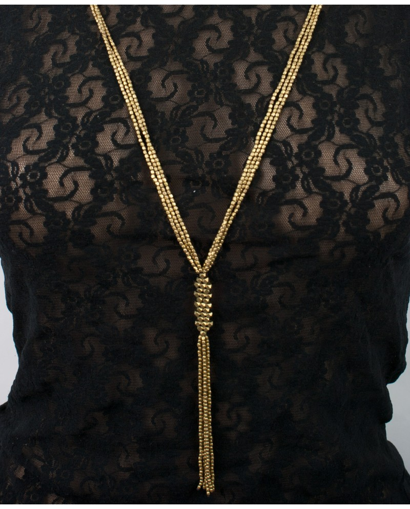 Simple long brass beaded necklace