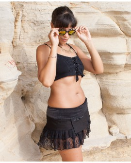 Bohemian mini skirt, wrap around skirt with handy pocket. Feel cool wearing it at hot summer festivals.	