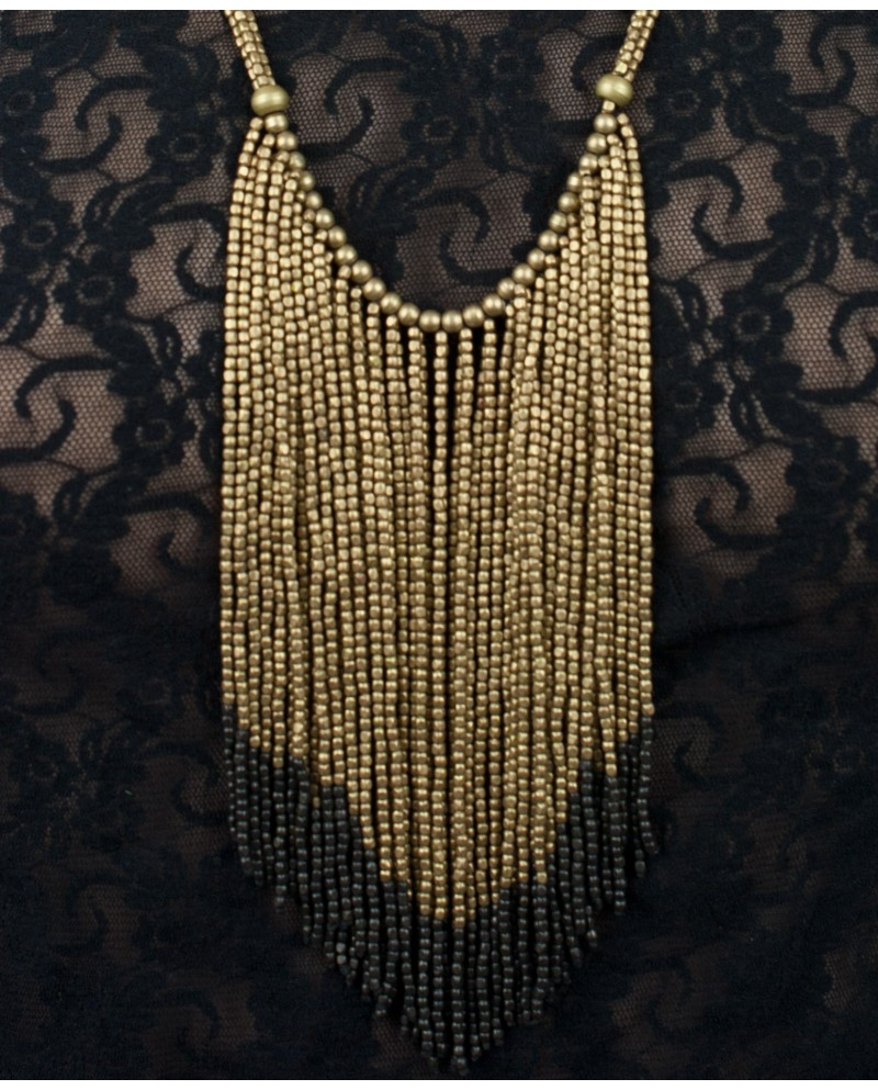 Stylish brass necklace with double coloured brass tassels