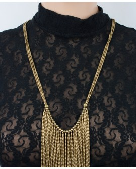 Long stylish brass necklace (0011)