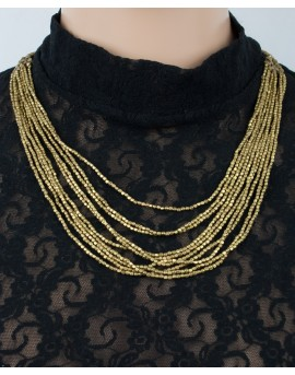 Multi strands brass beaded necklace