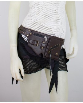 Steampunk pocket belt, Burning Man waist bag, leather utility belt, belt with pockets, hip bag [SMALL VERSION] - Ged (0014)