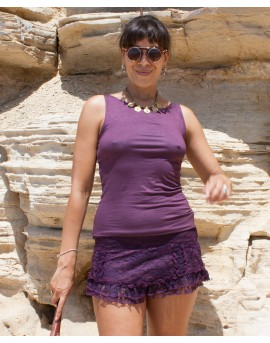 EarthyWear - Earthy short skirt (cotton and lace)